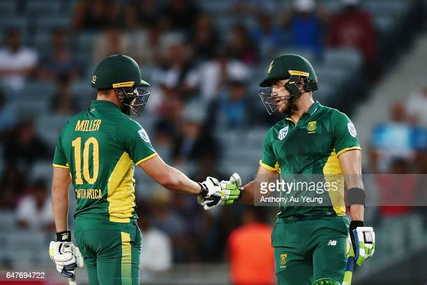 Faf du Plessis and David Miller of South Africa in their partnership during game five of the One Day International series between New Zealand and...