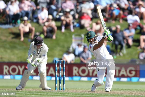 Faf du Plessis Captain of South Africa bats during day one of the First Test match between New Zealand and South Africa at University Oval on March 8...