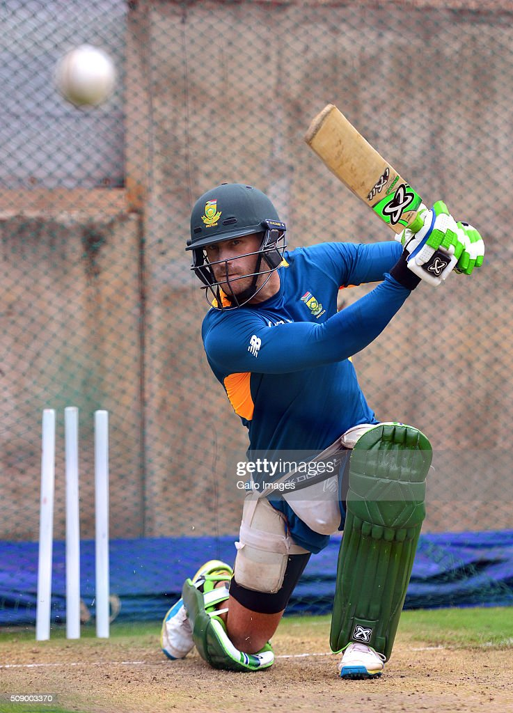 Faf du Plessis during the South African national cricket team training session and press conference at SuperSport Park on February 08, 2016 in Pretoria, South Africa.
