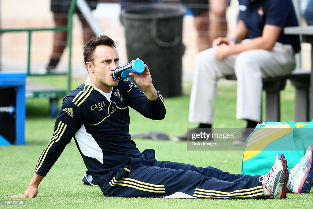Faf du Plessis during the South African national cricket team training session at Axxess St Georges on January 09, 2013 in Port Elizabeth, South Africa.
