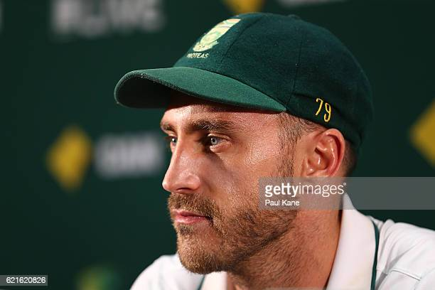 Faf du Plessis of South Africa adresses the media at a press conference after defeating Australia during day five of the First Test match between...