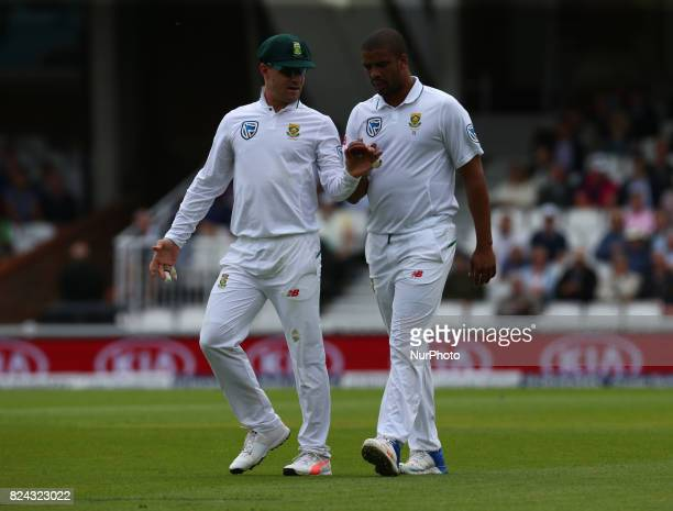 LR Faf du Plessis of South Africa and Vernon Philander of South Africa during the International Test Match Series Day One match between England and...