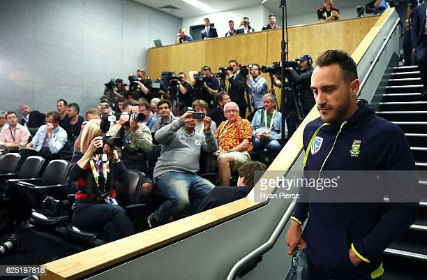 Faf du Plessis of South Africa arrives for a press conference before a South Africa training session at Adelaide Oval on November 23 2016 in Adelaide...