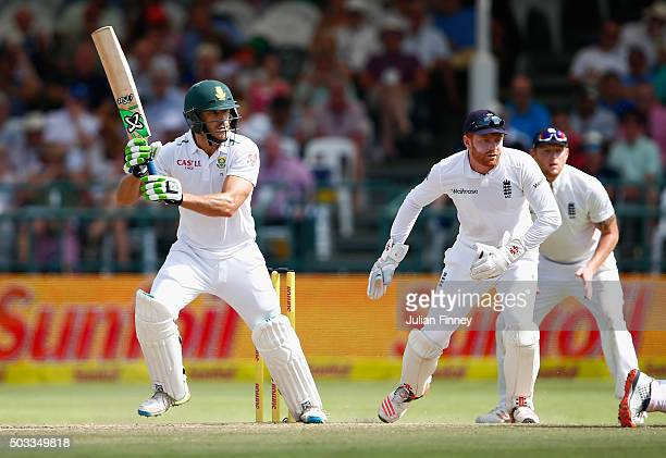 Faf du Plessis of South Africa bats as Jonny Bairstow of England keeps wicket during day three of the 2nd Test at Newlands Stadium on January 4 2016...