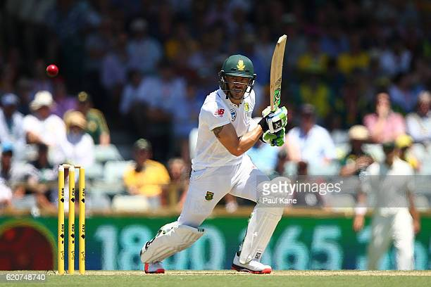Faf du Plessis of South Africa bats during day one of the First Test match between Australia and South Africa at the WACA on November 3 2016 in Perth...