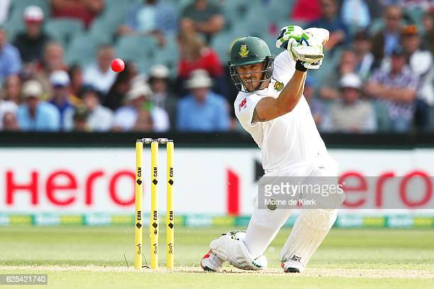 Faf du Plessis of South Africa bats during day one of the Third Test match between Australia and South Africa at Adelaide Oval on November 24 2016 in...