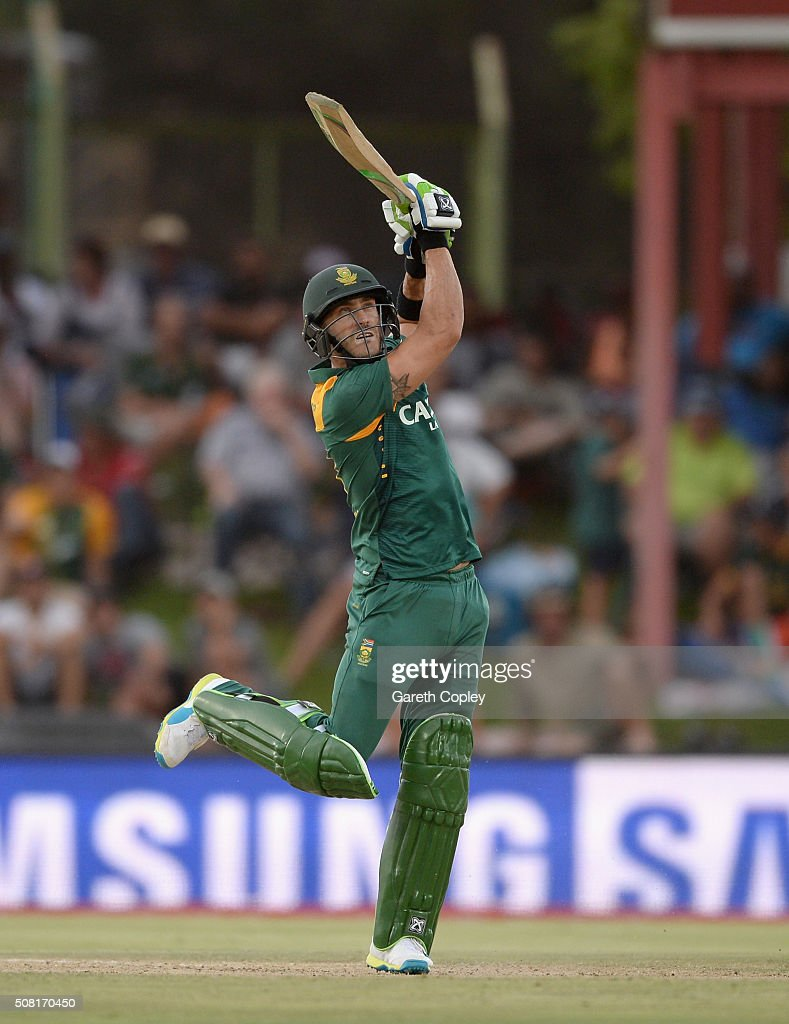 Faf du Plessis of South Africa bats during the 1st Momentum ODI match between South Africa and England at Mangaung Oval on February 3, 2016 in Bloemfontein, South Africa.
