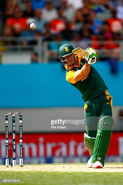 Faf du Plessis of South Africa bats during the 2015 Cricket World Cup Semi Final match between New Zealand and South Africa at Eden Park on March 24...
