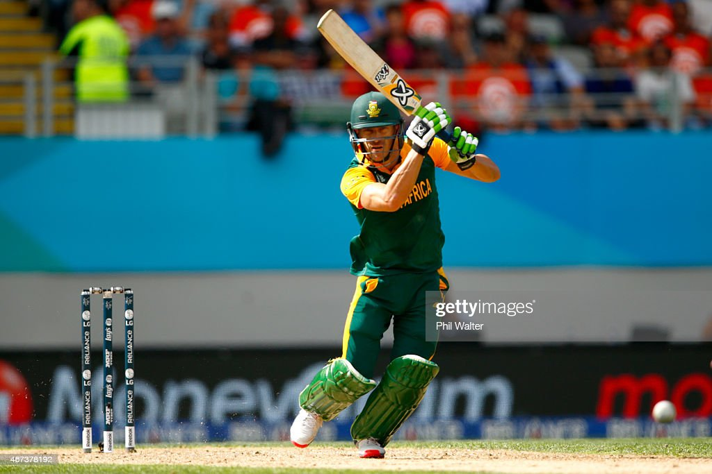 Faf du Plessis of South Africa bats during the 2015 Cricket World Cup Semi Final match between New Zealand and South Africa at Eden Park on March 24, 2015 in Auckland, New Zealand.