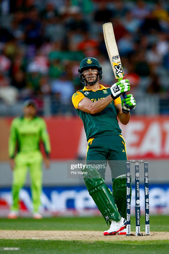 Faf du Plessis of South Africa bats during the 2015 ICC Cricket World Cup match between South Africa and Pakistan at Eden Park on March 7, 2015 in Auckland, New Zealand.