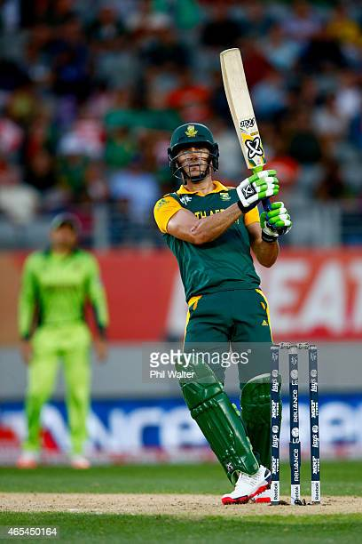 Faf du Plessis of South Africa bats during the 2015 ICC Cricket World Cup match between South Africa and Pakistan at Eden Park on March 7 2015 in...