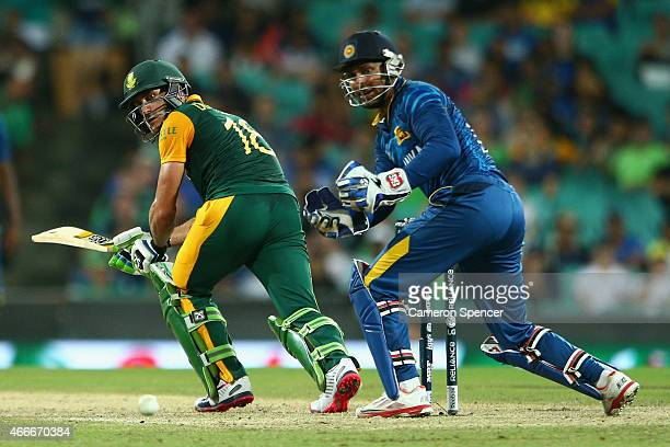 Faf du Plessis of South Africa bats during the 2015 ICC Cricket World Cup match between South Africa and Sri Lanka at Sydney Cricket Ground on March...