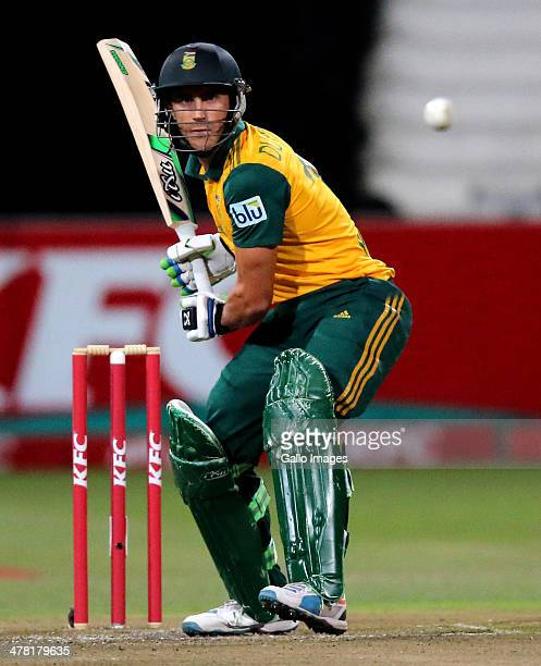 Faf du Plessis of South Africa bats during the 2nd T20 International match between South Africa and Australia at Sahara Stadium Kingsmead on March 12...