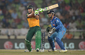 Faf du Plessis of South Africa bats during the ICC World Twenty20 Bangladesh 2014 semi final between India and South Africa at ShereBangla Mirpur...