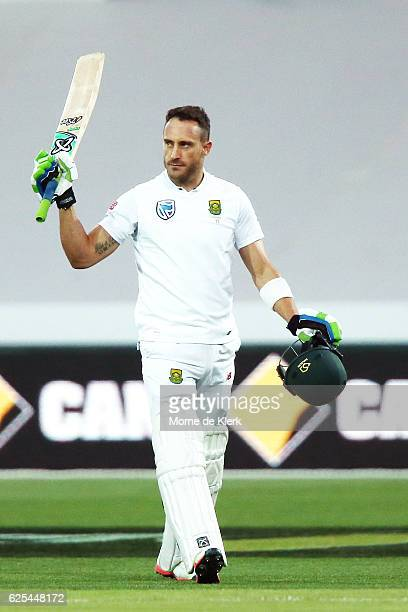 Faf du Plessis of South Africa celebrates after reaching 100 runs during day one of the Third Test match between Australia and South Africa at...