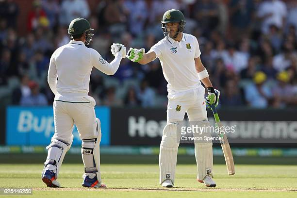 Faf du Plessis of South Africa celebrates after scoring a half century during day one of the Third Test match between Australia and South Africa at...