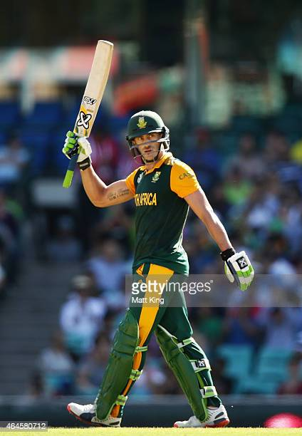 Faf du Plessis of South Africa celebrates and acknowledges the crowd after scoring a half century during the 2015 ICC Cricket World Cup match between...
