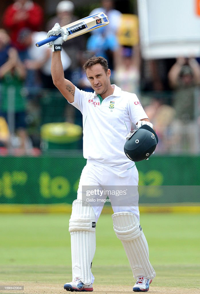 Faf du Plessis of South Africa celebrates his century during day 2 of the 2nd Test match between South Africa and New Zealand at Axxess St Georges on January 12, 2013 in Port Elizabeth, South Africa.