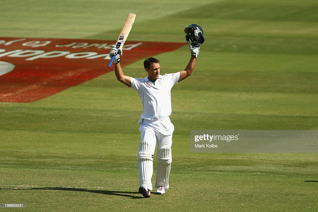 Faf du Plessis of South Africa celebrates scoring his century during day five of the Second Test Match between Australia and South Africa at Adelaide Oval on November 26, 2012 in Adelaide, Australia.