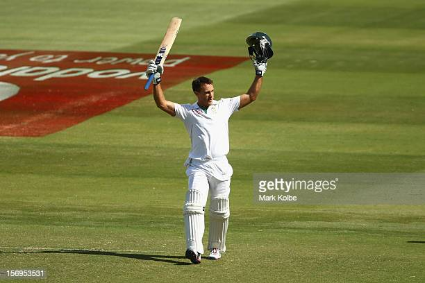 Faf du Plessis of South Africa celebrates scoring his century during day five of the Second Test Match between Australia and South Africa at Adelaide...