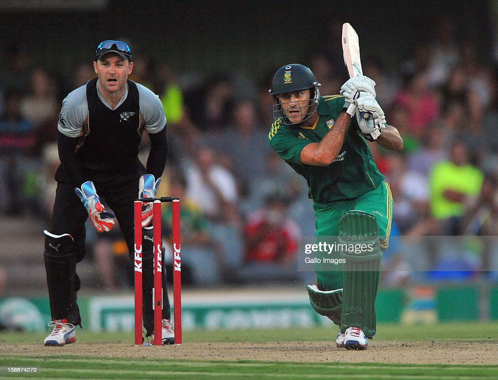Faf du Plessis of South Africa drives for a boundary during the 2nd T20 match between South Africa and New Zealand at Buffalo Park on December 23, 2012 in East London, South Africa.