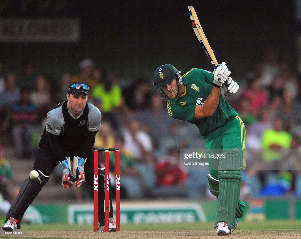 Faf du Plessis of South Africa drives to mid-off during the 2nd T20 match between South Africa and New Zealand at Buffalo Park on December 23, 2012 in East London, South Africa.