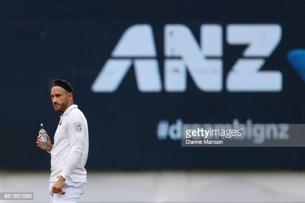 Faf du Plessis of South Africa has a drink during day four of the First Test match between New Zealand and South Africa at University Oval on March...