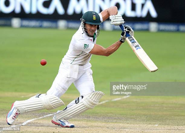 Faf du Plessis of South Africa hits out during day 5 of the 1st Test match between South Africa and India at Bidvest Wanderers Stadium on December 22...