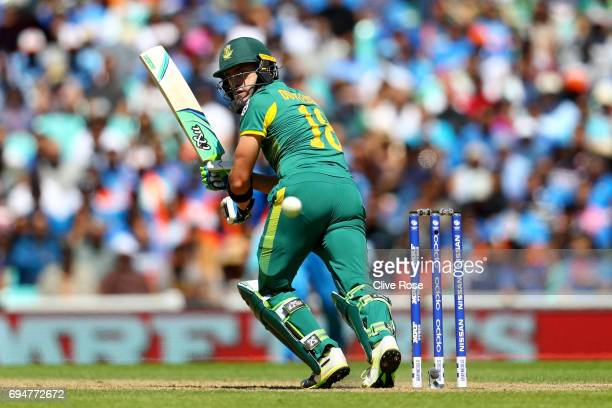 Faf du Plessis of South Africa in action during the ICC Champions trophy cricket match between India and South Africa at The Oval in London on June...