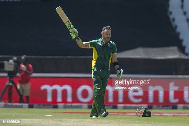Faf Du Plessis of South Africa in action during the One Day International match between South Africa and Australia at Wanderers cricket ground on...