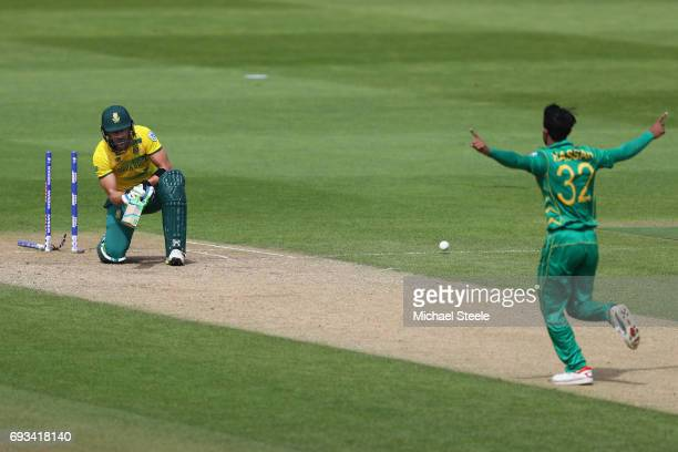 Faf Du Plessis of South Africa is bowled by Hasan Ali during the ICC Champions Trophy match between Pakistan and South Africa at Edgbaston on June 7...