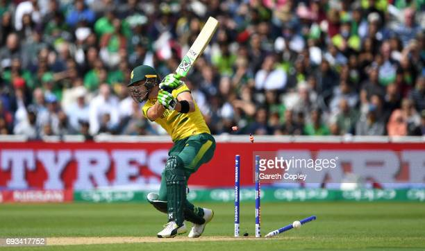 Faf du Plessis of South Africa is bowled by Hasan Ali of Pakistan during the ICC Champions Trophy match between Pakistan and South Africa at...