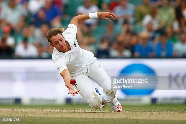 Faf du Plessis of South Africa is caught and bowled by Stuart Broad of England during day three of the 3rd Test at Wanderers Stadium on January 16...