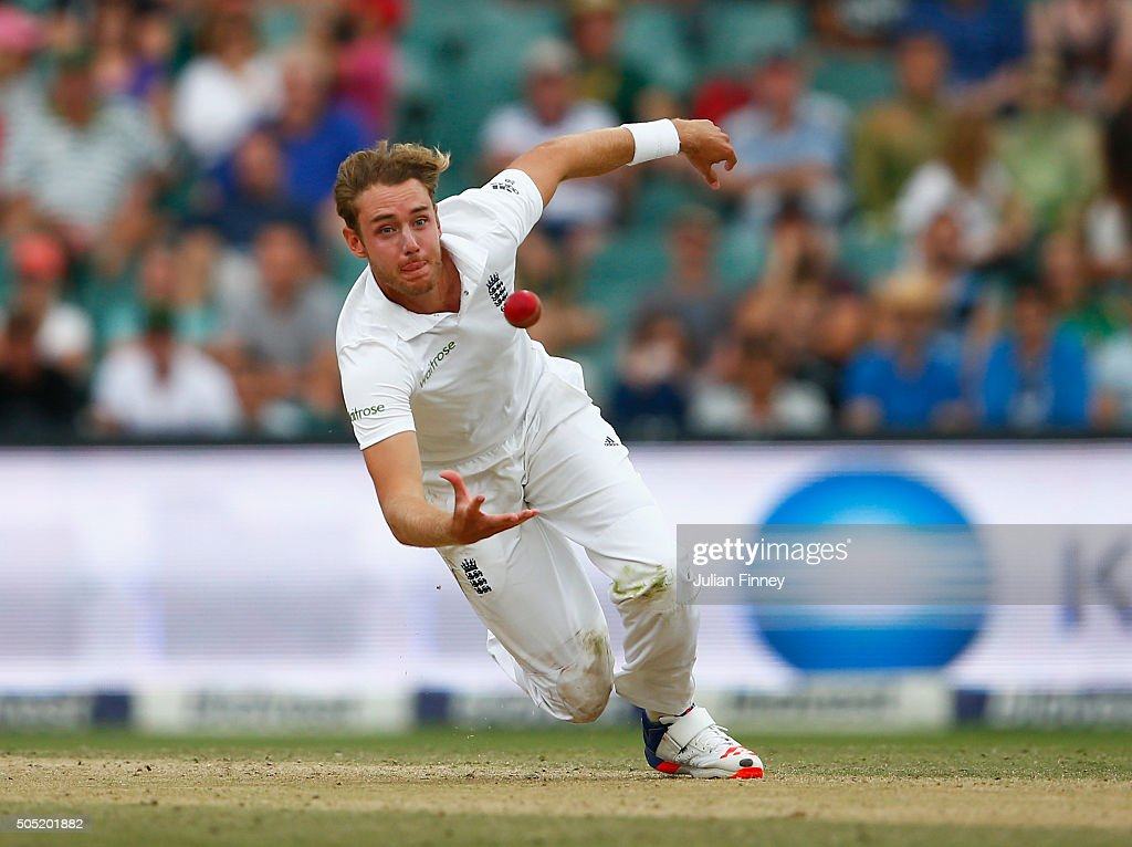 Faf du Plessis of South Africa is caught and bowled by <a gi-track='captionPersonalityLinkClicked' href=/galleries/search?phrase=Stuart+Broad&family=editorial&specificpeople=574360 ng-click='$event.stopPropagation()'>Stuart Broad</a> of England during day three of the 3rd Test at Wanderers Stadium on January 16, 2016 in Johannesburg, South Africa.