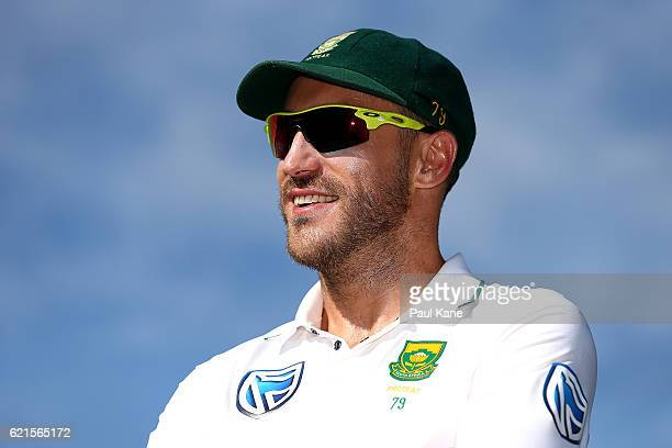 Faf du Plessis of South Africa looks on after defeating Australia during day five of the First Test match between Australia and South Africa at the...