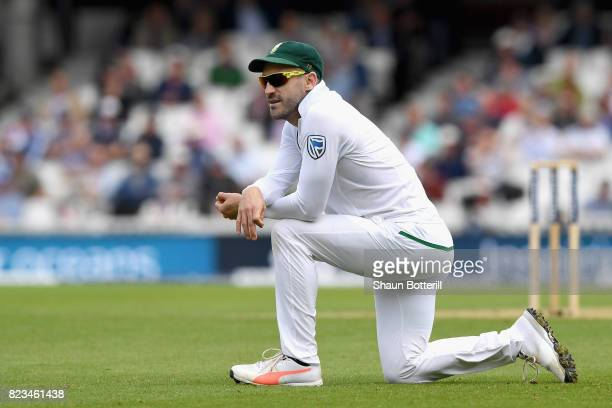 Faf du Plessis of South Africa looks on during Day One of the 3rd Investec Test match between England and South Africa at The Kia Oval on July 27...