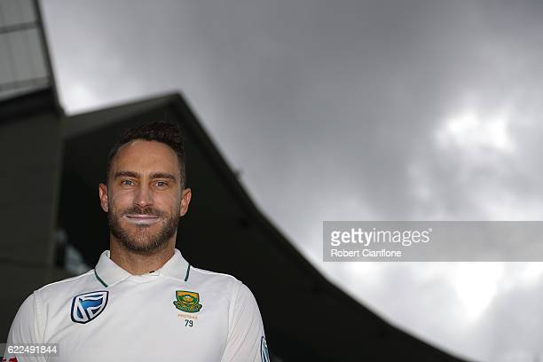 Faf du Plessis of South Africa looks on during day one of the Second Test match between Australia and South Africa at Blundstone Arena on November 12...