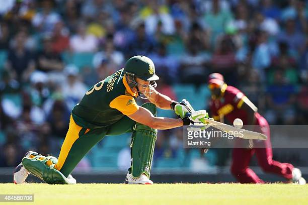Faf du Plessis of South Africa plays a ramp shot during the 2015 ICC Cricket World Cup match between South Africa and the West Indies at Sydney...