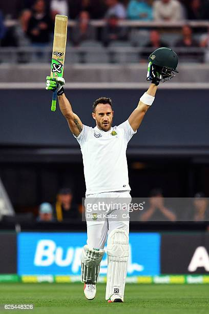 Faf du Plessis of South Africa reacts after reaching his century during day one of the Third Test match between Australia and South Africa at...