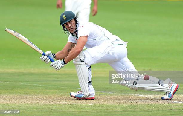 Faf du Plessis of South Africa sweeps a delivery to fineleg during day 2 of the 2nd Test match between South Africa and New Zealand at Axxess St...