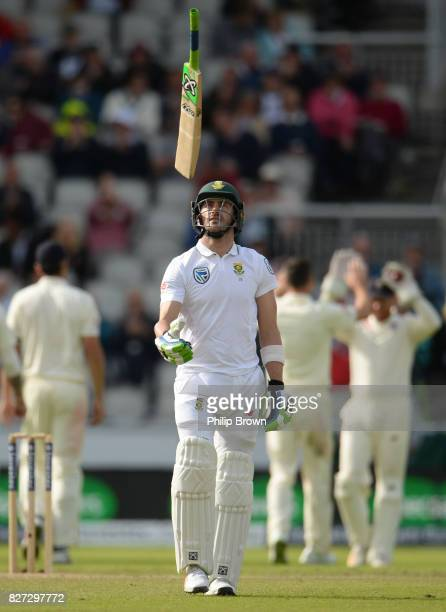 Faf du Plessis of South Africa throws his bat as he leaves the field during the fourth day of the 4th Investec Test match between England and South...