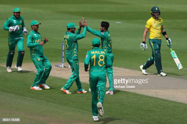 Faf Du Plessis of South Africa walks after being bowled by Hasan Ali during the ICC Champions Trophy match between Pakistan and South Africa at...