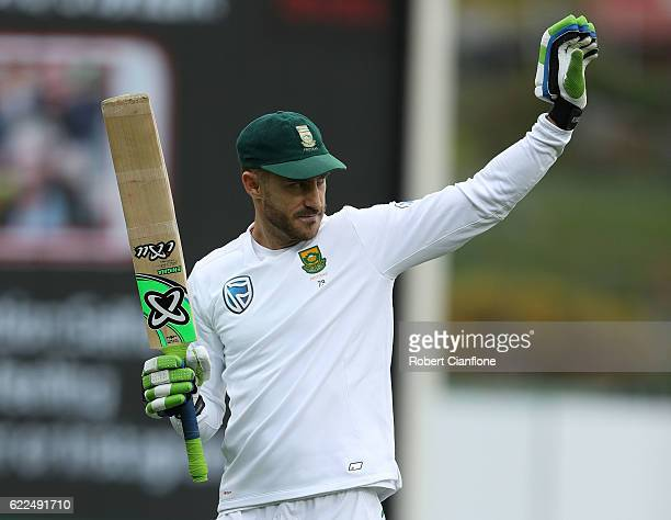 Faf du Plessis of South Africa warms up during day one of the Second Test match between Australia and South Africa at Blundstone Arena on November 12...