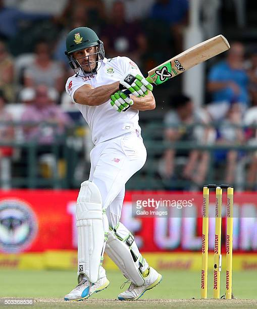 Faf du Plessis of the Protea in action during day 3 of the 2nd Test match between South Africa and England at PPC Newlands on January 04 2016 in Cape...
