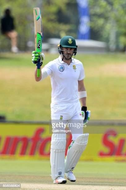 Faf du Plessis of the Proteas celebrates his 100 runs during day 2 of the 2nd Sunfoil Test match between South Africa and Bangladesh at Mangaung Oval...