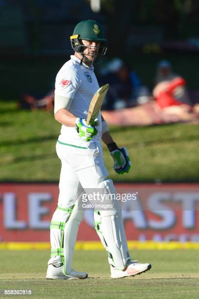Faf du Plessis of the Proteas celebrates his 50 runs during day 1 of the 2nd Sunfoil Test match between South Africa and Bangladesh at Mangaung Oval...