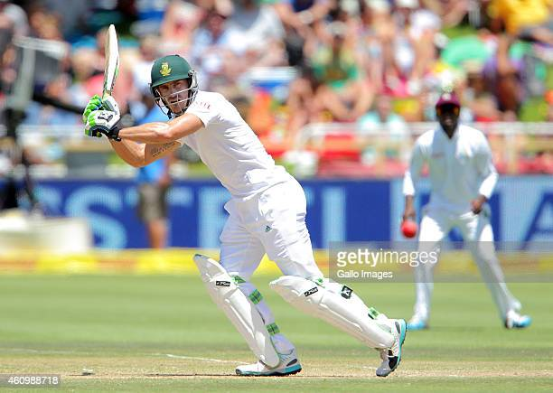 Faf du Plessis of the Proteas during day 2 of the 3rd Test between South Africa and West Indies at Sahara Park Newlands on January 03 2015 in Cape...