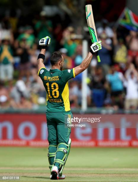 Faf du Plessis of the Proteas reacts during the 4th ODI between South Africa and Sri Lanka at PPC Newlands on February 07 2017 in Cape Town South...