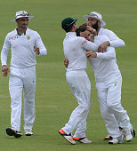 Faf du Plessis takes the catch off Morne Morkel to get Leon Johnson for a first ball duck during day 3 of the 2nd Test match between South Africa and...