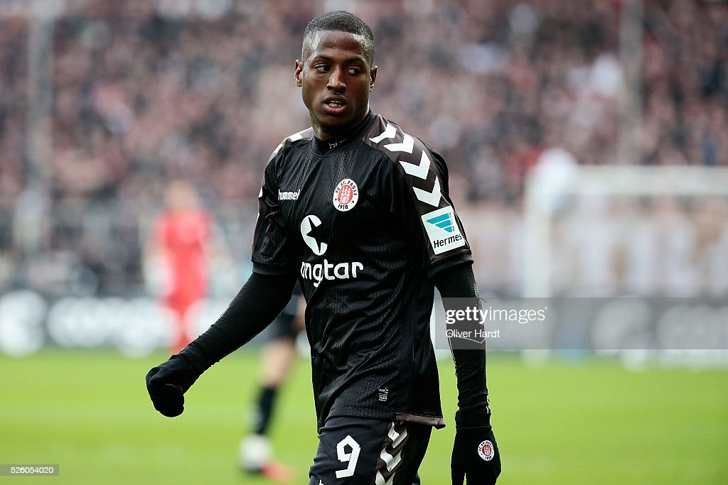 Fafa Picault of Hamburg appears frustrated during the Second Bundesliga match between FC St. Pauli and 1860 Muenchen at Millerntor Stadium on April 29, 2016 in Hamburg, Germany.